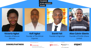 Founder Scholarship Ghanaprovide in cooperation with Sparkassenstiftung financial support and mentoring for entrepreneurs allowing founders to fully concentrate their time and energy on their business venture.