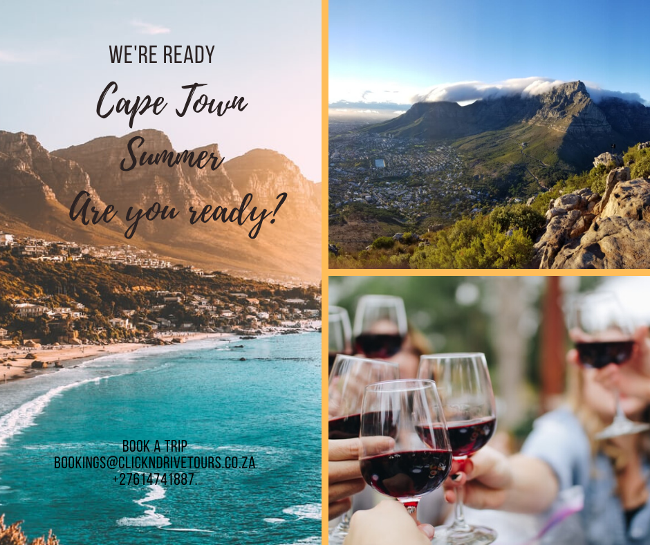 Flyer for Click and Drive Tours to advertise packages in Cape Town