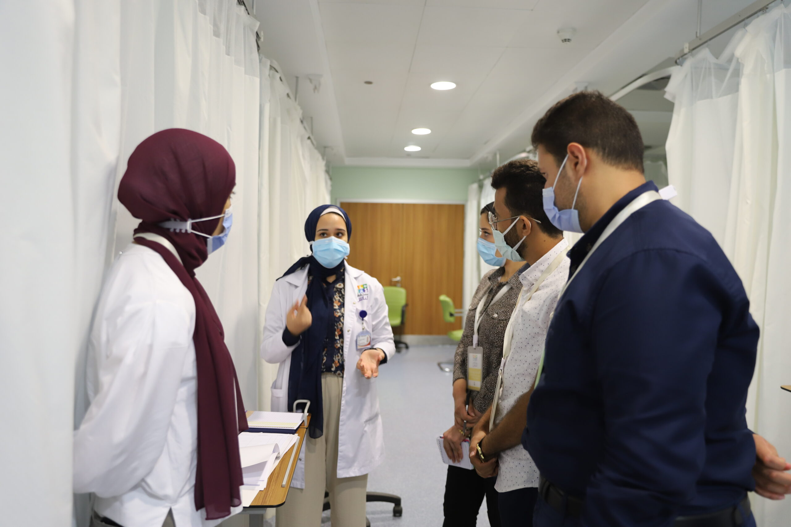 Clinical Innovation Fellows during their clinical immersion experience at Al-Nas Hospital,
